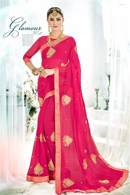 f6ab30370 image of Beguiling Embroidery Work On Dark Pink Georgette Fabric Festive  Wear Saree