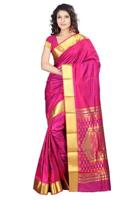 image of Traditional Fancy Silk Party Saree In Orange Color