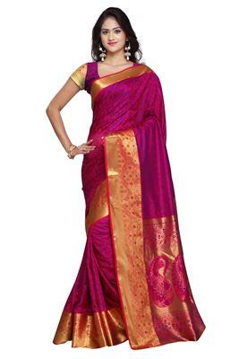 image of Red-Purple Festive Wear Designer Georgette Saree