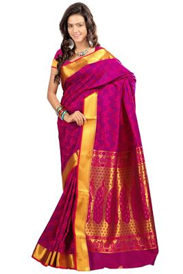 image of Red Color Embroidered Georgette Party Wear Saree