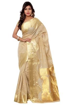image of Cream Color Designer Lycra-Net Saree with Embroidery