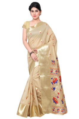 image of Cream Party Wear Saree with Contrast Blouse-2052