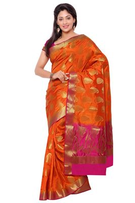 image of Glorious Orange Color Printed Party Wear Saree