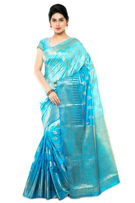 image of Party Wear Designer Kanchipuram Art Silk Fabric Saree in Cyan Color