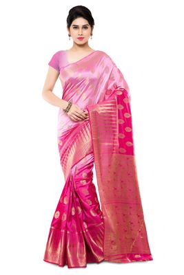 image of Party Wear Printed Silk Saree in Orange-Pink Color