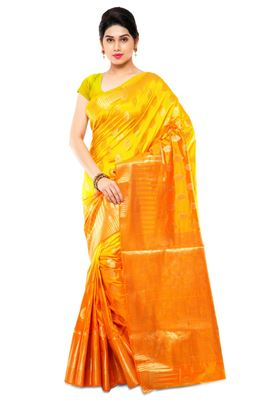 image of Kanchipuram Art Silk Fabric Party Wear Saree in Yellow And Orange Color