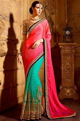 image of Festive Wear Designer Chiffon And Net Saree In Green And Cream Color