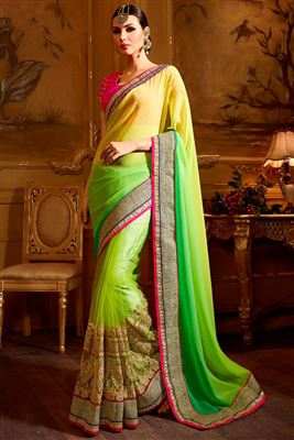 image of Party Wear Designer Silk Fabric Saree In Pink Color