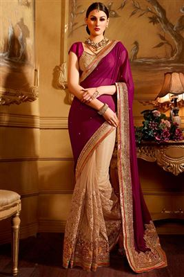 image of Commendable Beige-Red Georgette-Net Saree-12810
