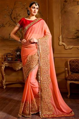 image of Pink Color Embroidered Georgette Designer Saree With Blouse