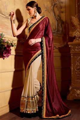 image of Lovely Pink Chiffon Party Wear Saree-5672