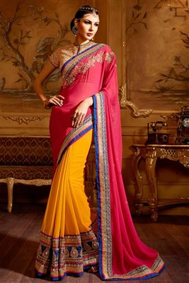 image of Red-Cream Color Embroidered Designer Party Wear Georgette Saree