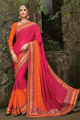 image of Pink Printed Party Wear Georgette Saree