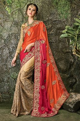 image of Brown-Pink Georgette-Jacquard Designer Saree-13231