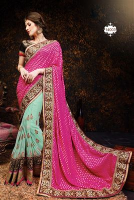 image of Peach-Brown Color Chiffon Designer Embroidered Saree with Blouse