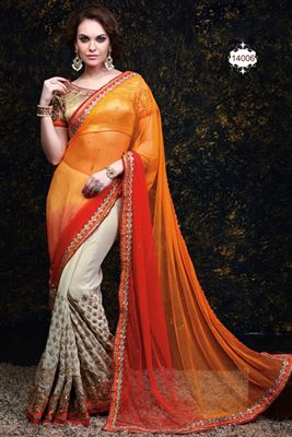 image of Cream-Gold Color Party Wear Saree In Silk-Georgette Fabric