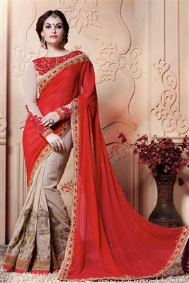 image of Cream And Brown Color Designer Georgette And Net Fabric Embroidered Saree