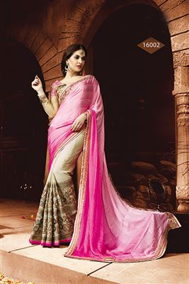 image of Charismatic Beige-Blue Georgette Designer Saree
