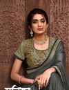 photo of Grey Color Stylish Reception Wear Saree In Georgette Silk Fabric