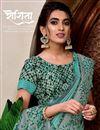 photo of Sea Green Art Silk Fabric Designer Wedding Wear Saree
