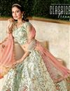 photo of Embroidered Art Silk Fabric Bridal Lehenga In Light Cyan Color with Designer Choli