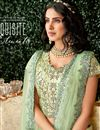 photo of Art Silk Fabric Sea Green Color Reception Wear Lehenga Choli With Embroidery Work