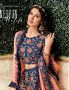 photo of Navy Blue Color Art Silk Fabric Wedding Wear 3 Piece Lehenga Choli With Embroidery Work