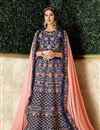 image of Navy Blue Color Art Silk Fabric Wedding Wear 3 Piece Lehenga Choli With Embroidery Work