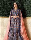 image of Navy Blue Color Art Silk Fabric Wedding Wear 3 Piece Lehenga Choli With Embroidery Work