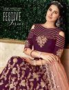 photo of Art Silk Fabric Designer Bridal Lehenga With Embroidery Work On Purple Color
