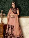 image of Embroidered Wedding Wear Lehenga Choli In Brocade And Velvet Fabric Peach Color