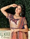 photo of Embroidery Work On Wedding Wear Bridal Lehenga In Art Silk Fabric Chikoo Color With Blouse