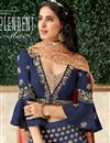 photo of Embroidery Work On Navy Blue Color Designer Lehenga In Art Silk Fabric With Blouse