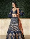 image of Embroidery Work On Navy Blue Color Designer Lehenga In Art Silk Fabric With Blouse