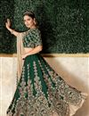 photo of Embroidered Satin Silk Fabric Designer 3 Piece Lehenga In Dark Green Color