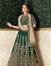 image of Embroidered Satin Silk Fabric Designer 3 Piece Lehenga In Dark Green Color