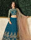 image of Navy Blue Color Party Wear Lehenga Choli In Satin Silk Fabric With Embroidery Work