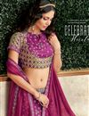 photo of Brocade And Art Silk Fabric Magenta Color Occasion Wear Lehenga Choli With Embroidery Work