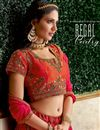 photo of Occasion Wear Lehenga In Jacquard Silk Fabric Red Color With Embroidery Work