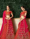 image of Occasion Wear Lehenga In Jacquard Silk Fabric Red Color With Embroidery Work
