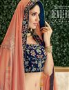 photo of Embroidered Velvet Fabric Navy Blue Color Festive Wear Lehenga With Embroidery Work