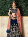 image of Embroidered Velvet Fabric Navy Blue Color Festive Wear Lehenga With Embroidery Work