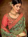 photo of Embroidery Work On Georgette Silk Fabric Designer Saree In Green Color With Attractive Blouse
