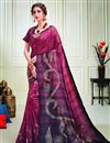 image of Art Silk Fabric Party Style Wine Color Classy Printed Saree