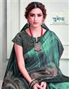 photo of Party Style Green Color Classy Printed Saree In Art Silk Fabric