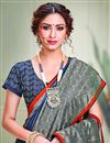 photo of Party Style Art Silk Fabric Classy Printed Saree In Blue Color