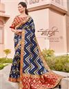 image of Navy Blue Color Traditional Wear Silk Fabric Trendy Weaving Work Saree