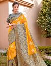 image of Yellow Color Trendy Traditional Wear Silk Fabric Weaving Work Saree