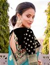 photo of Silk Fabric Traditional Wear Trendy Cyan Color Weaving Work Saree