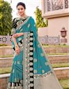 image of Silk Fabric Traditional Wear Trendy Cyan Color Weaving Work Saree